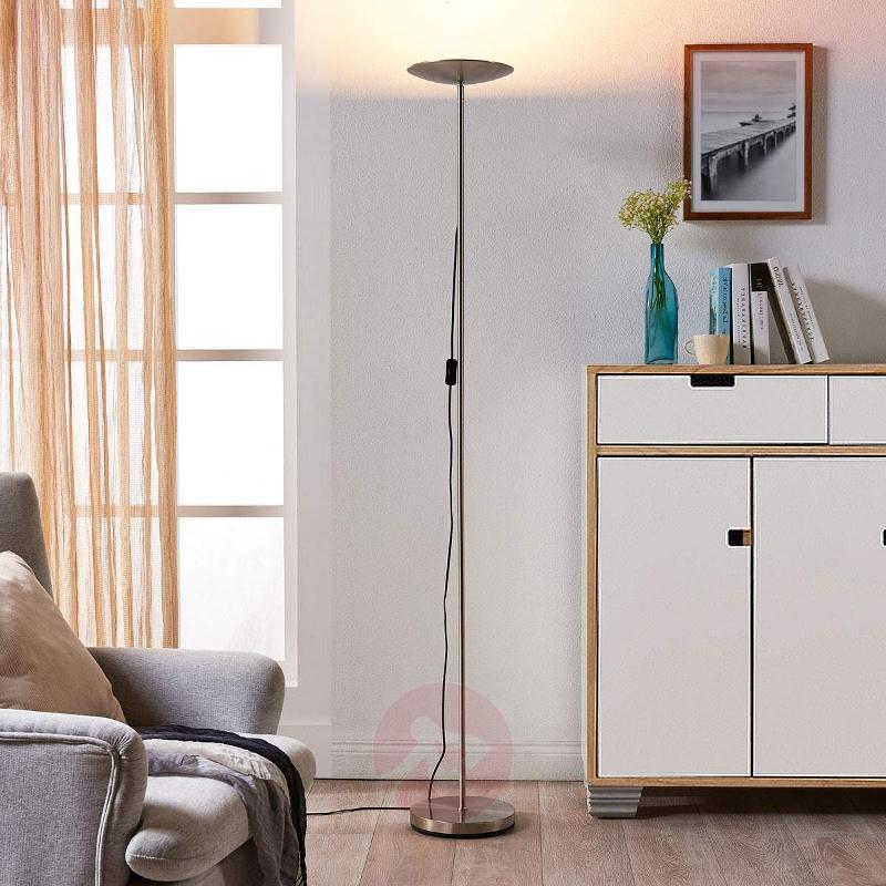 Simple LED uplighter Ela, satin nickel - Uplighters
