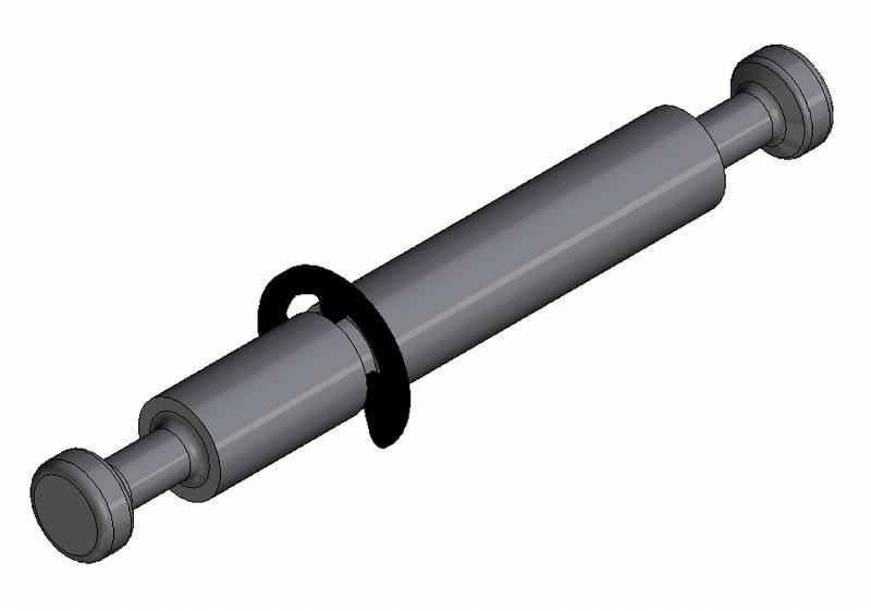 Mittelwandbolzen - Stahl gedreht - m.Ring - f. 16mm Platten - Bolzen (Exzenter)