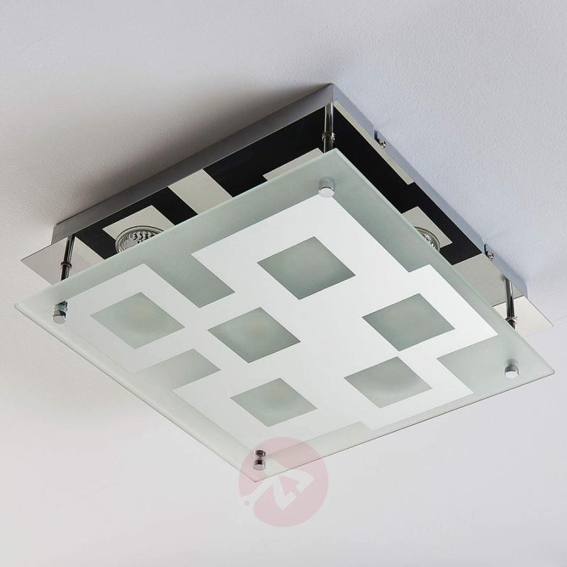 Square glass ceiling lamp Alina, chrome-plated - indoor-lighting