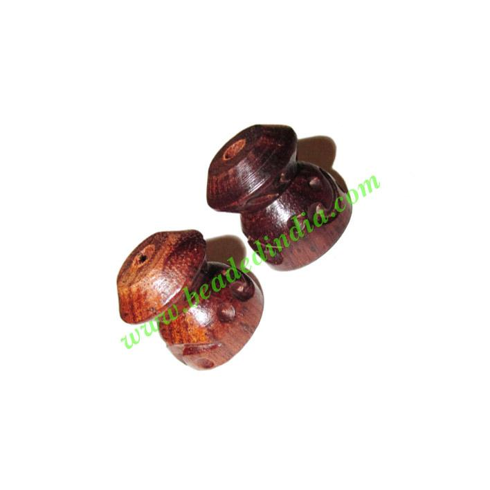 Rosewood Beads, Handcrafted designs, size 16x17mm, weight ap - Rosewood Beads, Handcrafted designs, size 16x17mm, weight approx 3.25 grams
