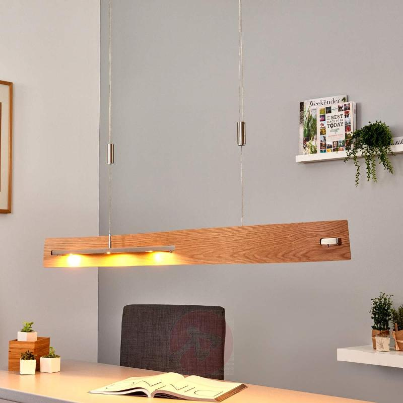 Natural oak - dimmable LED hanging lamp Talu - Pendant Lighting