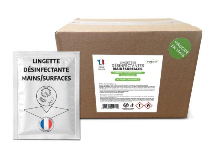 Lingette désinfectante main/surface - FOS-0070 - 100 Sachets individuels