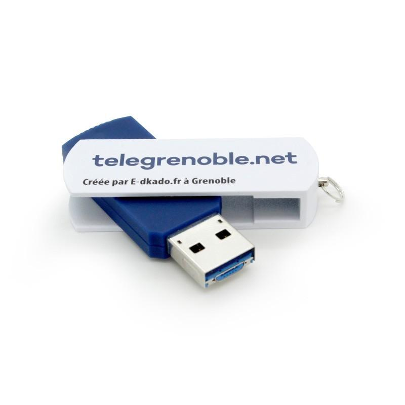 Cle USB Pivotante Aluminium Lisse - Clé USB Publicitaire