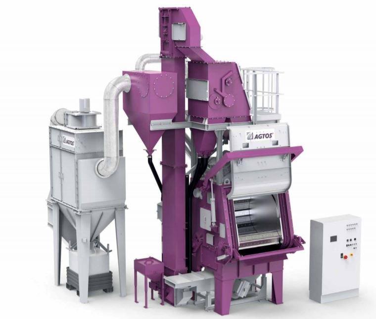 Steel mill tumble blast machine - Tumble belt shot blast machines for deburring and derusting mass parts.