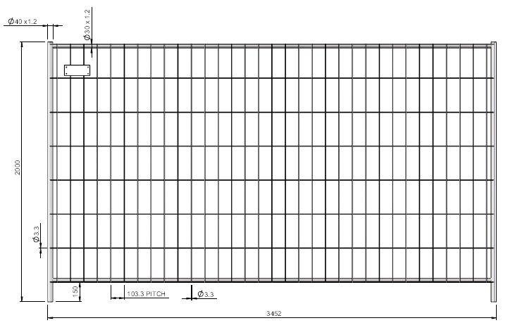 Galvanized building fence - 3,5 m x 2 m - weight 17,0 kg - SIHEKW