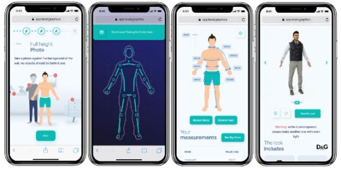 Camerino virtuale nel vostro smartphone - Raccomandazioni su taglia e vestibilità / Prova virtuale istantanea