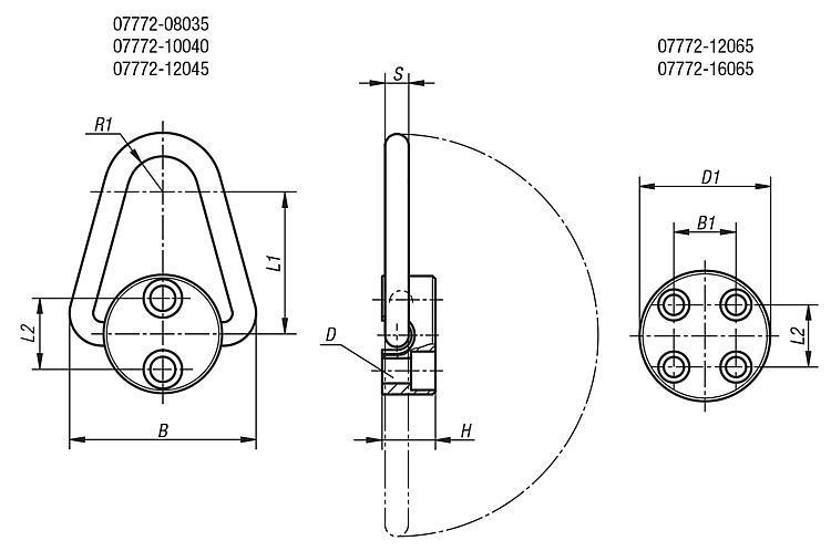 Anneau de levage - Anneaux de levage fixes et pivotants, anneaux à broche autobloquante