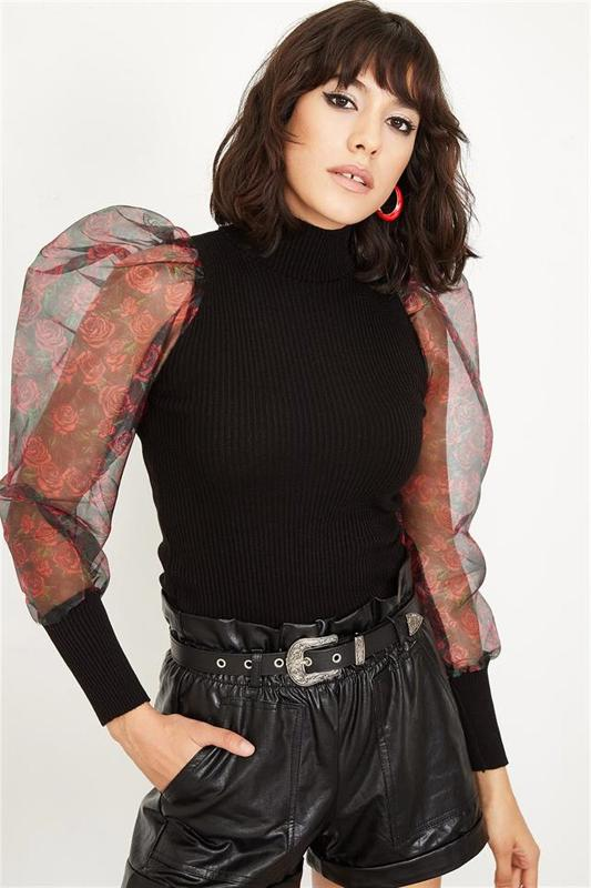 Women Black Organza And Balloon Sleeve Blouse Pattern Sweater - Blouse