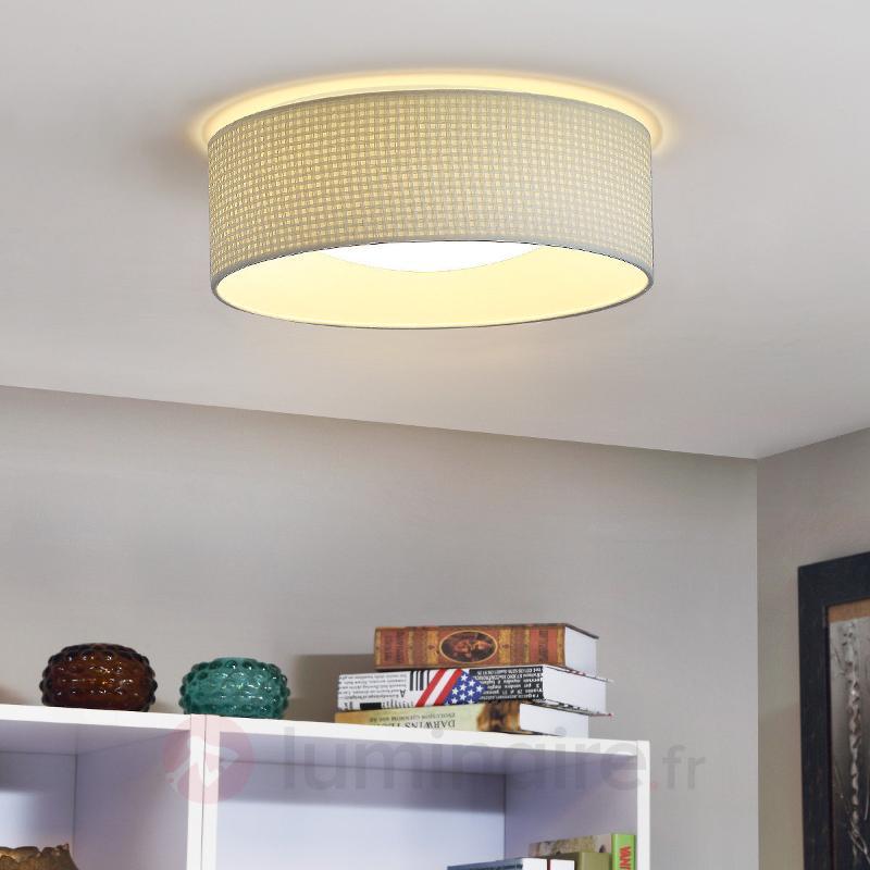 Plafonnier LED grosses mailles Cillian en beige - Plafonniers en tissu