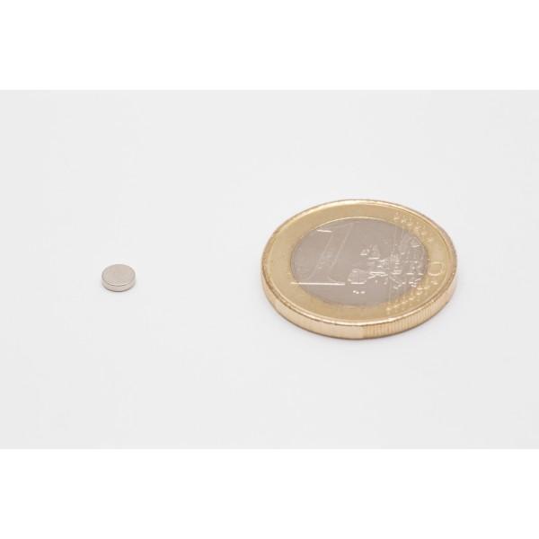 Neodymium disc magnet 4x1mm, N45, Ni-Cu-Ni, Nickel coated - Disc
