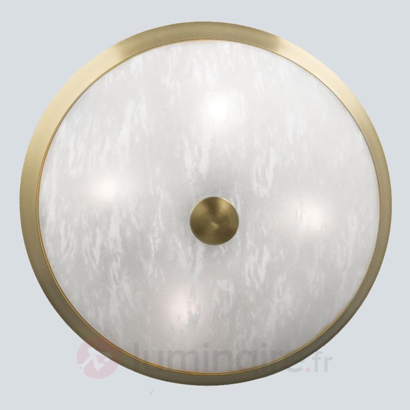 Plafonnier classique Jaya avec abat-jour en verre - Plafonniers laiton/dorés