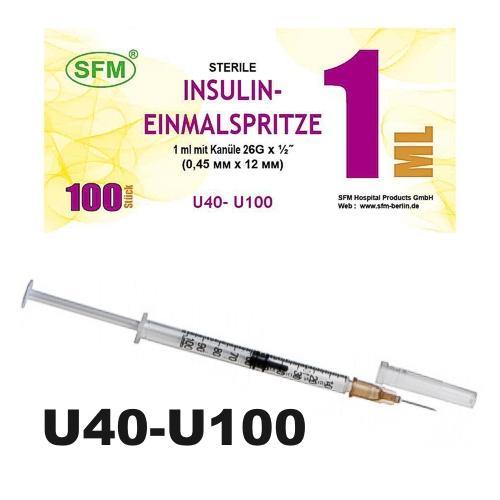 SFM Insulinspritze Einmalspritze 1ml U40/U100 + 26G... - null
