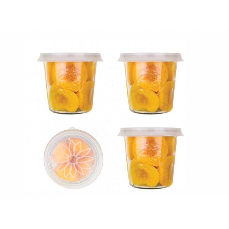 Silicone Blossom eCAP Storage, diameter 100 mm - transparent white color for jars WECK