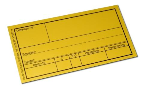 Beton-Würfelschild gelb 110 x 60 mm - Artikel-ID: B1512