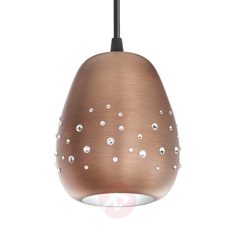 Copper-coloured Swarovski Inlay hanging lamp - Pendant Lighting