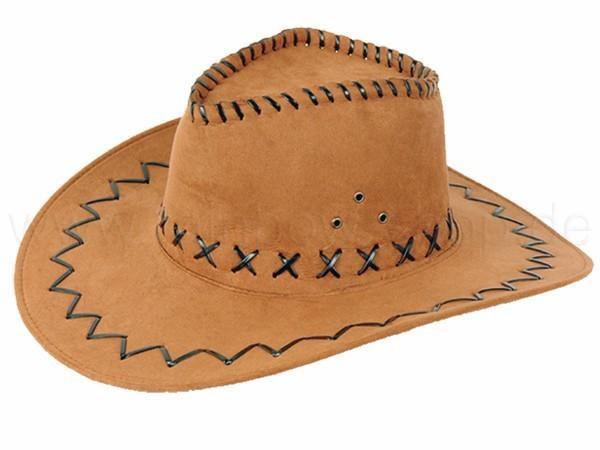 Cowboyhut Design: Zick Zack Muster Farbe: hellbraun - null