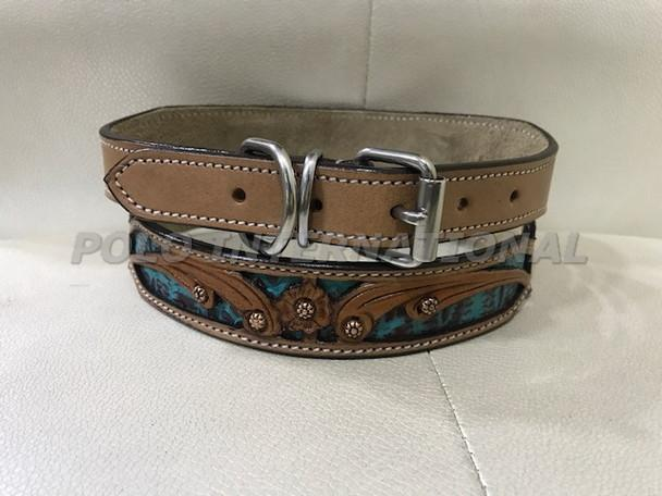 Dog collar - Hand carving with turquoise colour Alligator