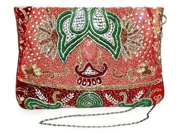 Indian Banjara Embroidery Zari Kundan Clutch bag Lady Purse -