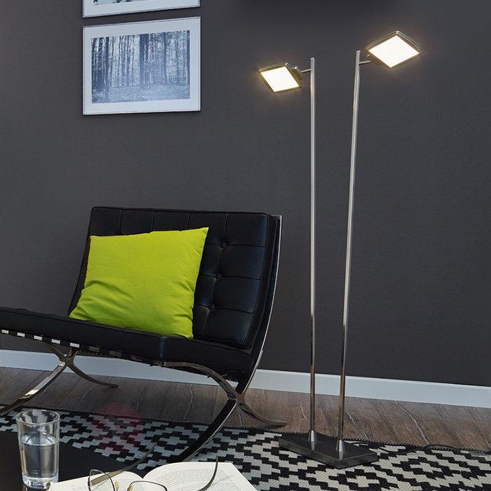 Lampadaire LED Quadra à deux lampes, variateur - Lampadaires LED