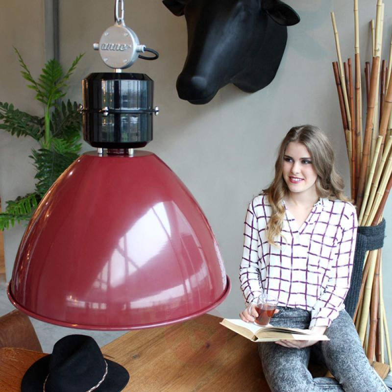 Industrially-designed Frisk hanging light in red - indoor-lighting