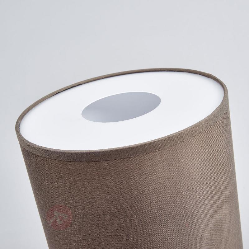 Lampe à poser LED cylindrique en tissu Leander - Lampes à poser en tissu