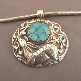 Colliers - Argent, turquoise, Nepal