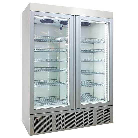Refrigeration - freezer 1300 litres made of stainless steel with glass doors
