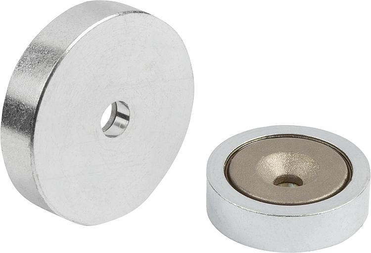 Shallow Pot Magnets With Countersink Smco - Magnets