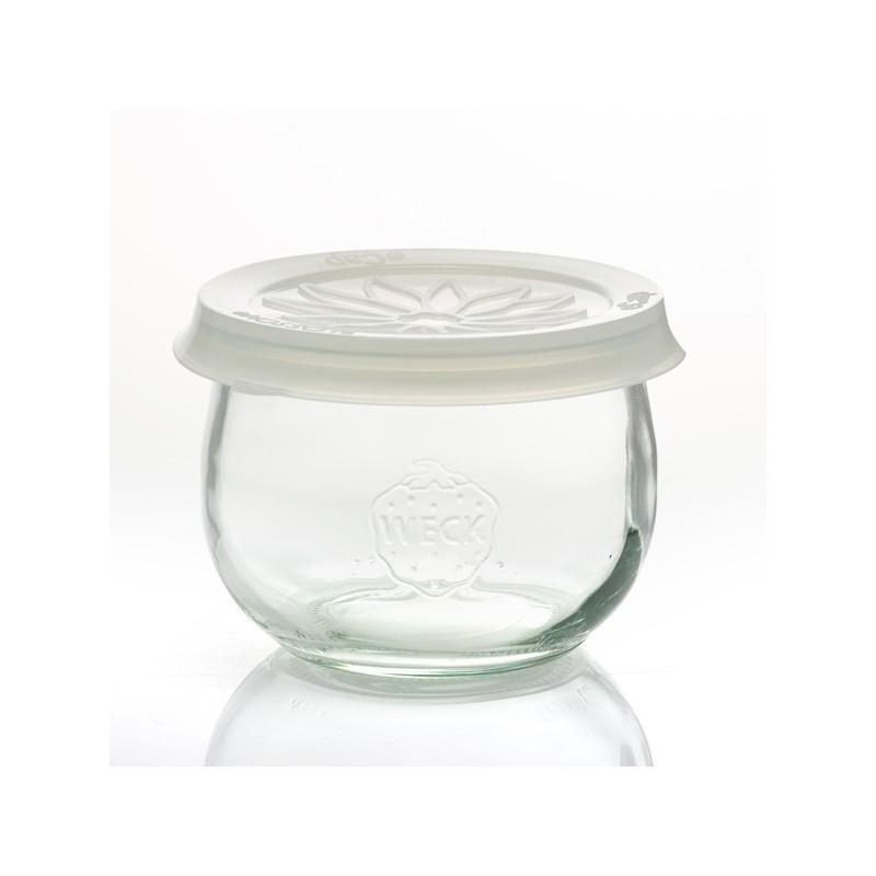 6 vasi in vetro WECK Corolle® 580 ml  - con coperchi in vetro e guarnizioni (graffe non incluse)