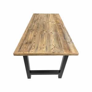 Table en vieux sapin brun - Plateau en bois ancien brun