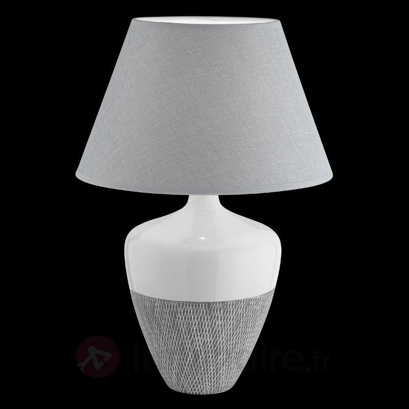 Lampe à poser blanc-gris Derby, pied céramique - Lampes à poser en tissu