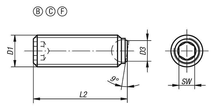 Ball-end thrust screws without head with flattened ball - Structural and supporting elements