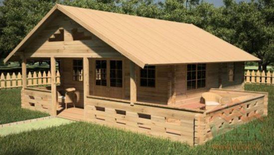 Cabaña de madera maciza Tasva - Excelente idea para una pequeña casa de campo. de 45 metros cuadrados.