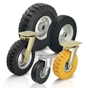 Heavy duty wheels and castors - with super-elastic solid rubber tyres