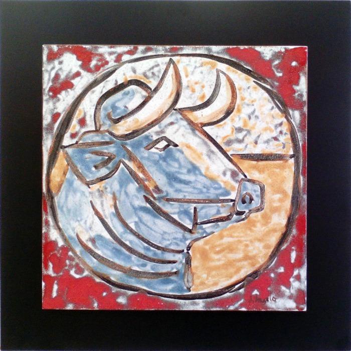 Cabeza de toro estilo Picasso - Placa de cerámica pintada a mano