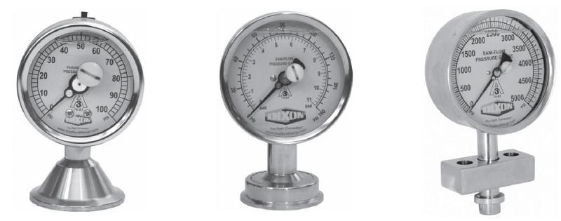 Hygienic pressure gauges