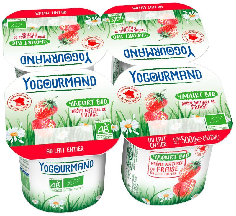 Yaourt Yogourmand Bio aromatisé fraise - Produits laitiers