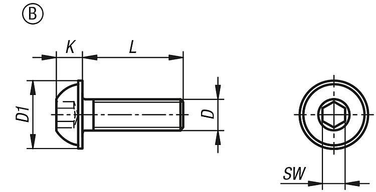 Vis à tête bombée plate DIN EN ISO 7380 - Éléments de liaison
