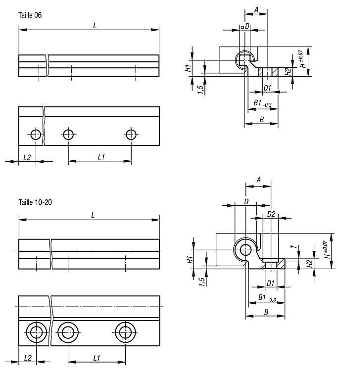 Rail de guidage DryLin® W simple - Guidages en plastique