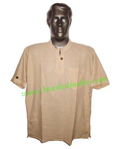half sleeve short khadi yoga kurta, size : chest 46 x height - half sleeve short khadi yoga kurta, size : chest 46 x height 30 inches (medium).