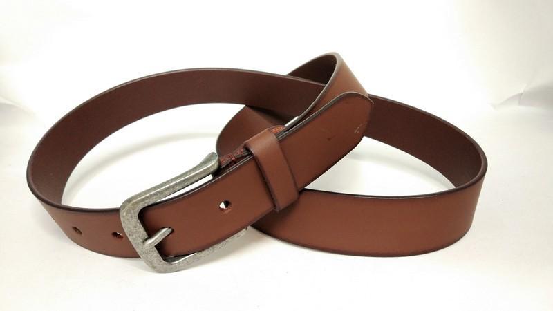 Split jeans belt for unisex - Tan burnishing split belt with hand padding