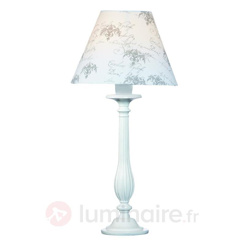Lampe à poser en bois KUNGSHAMN blanche - Lampes à poser en tissu