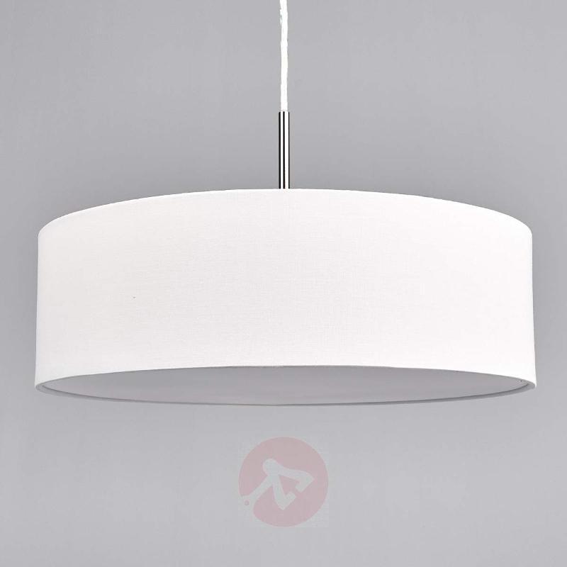 Cream-coloured fabric LED pendant light Sebatin - Pendant Lighting