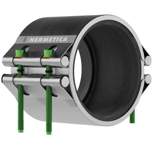 Abrazadera HERMETICA Serie 10 - Total inox 304L | EPDM WRAS ACS | 2 Cierre ancho 135 mm
