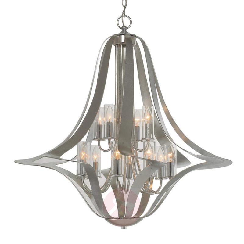 12-light elegant chandelier Spiro, silver leaf - design-hotel-lighting