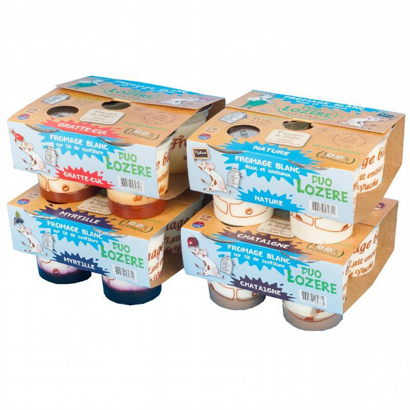 Fromage blanc sur lit de fraise des bois 4x125G - Produits laitiers