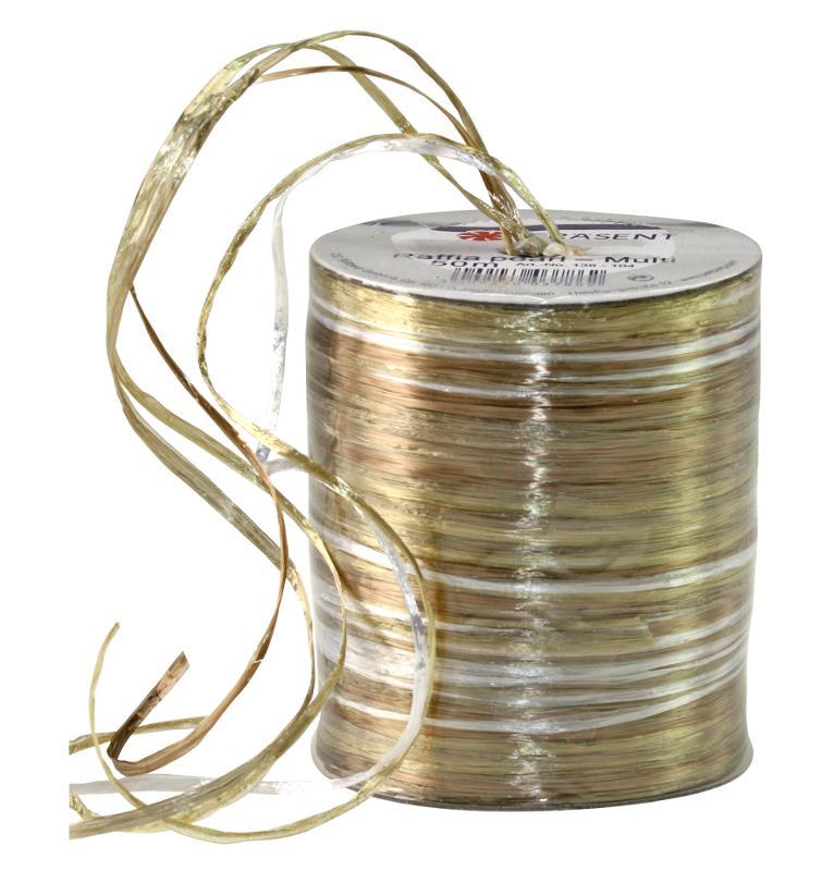 RAFFIA PEARL-Multicolour - metallic bast ribbon - null