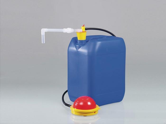 Bomba de pedal de PP OTAL® - Bomba para contenedores, tapón universal, ambas manos libres