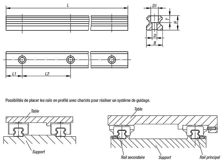Rail de guidage - Guidages à rails profilés