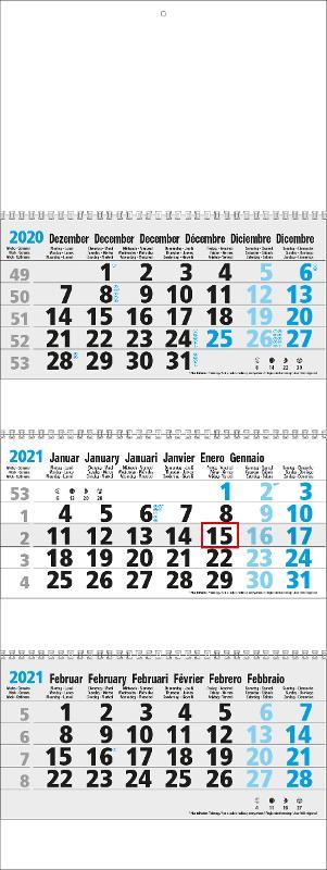 Calendriers 3 Mois - 3 Mois Maxi Xtra Gris Bleu